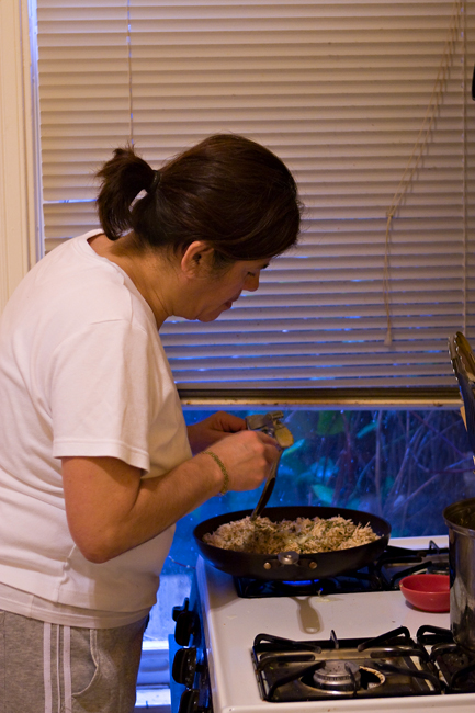 mom making the chicken