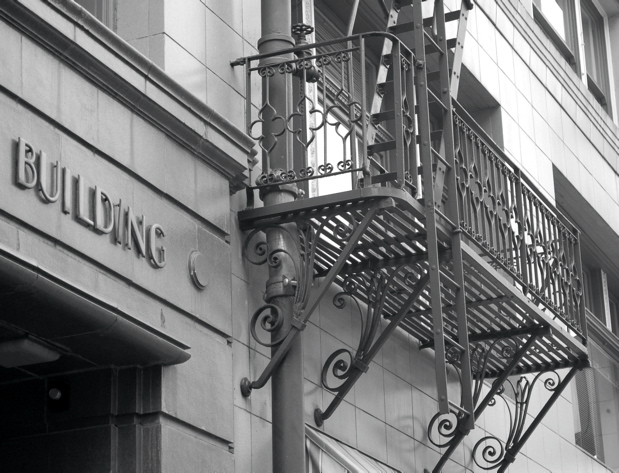 building_fire_escape_bw
