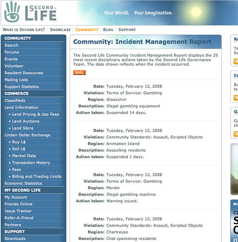 Image of Second LIfe Community Incident Report