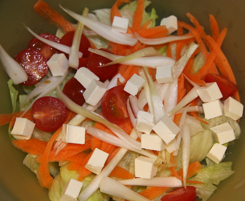 Salad with Cream Cheese Cubes