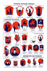 National Statuary + Decoration Day (Depression Press) Tags: blue red usa white silhouette illustration america vintage print logo stars typography design us 1930s election graphic eagle drawing united president politics ornament seal badge printing spindler americana states letterpress republican patriotism 2008 democrat cuts specimen ballot barnhart 2008election depressionpress typecut typecuts