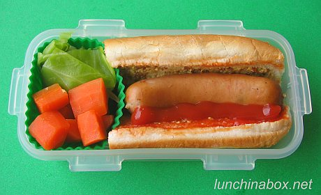 Mini hot dog bento lunch for preschooler