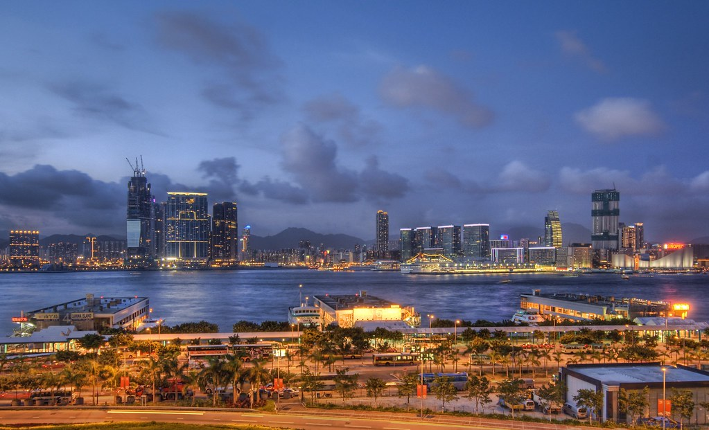 Shooting Across the Straits of Hong Kong at Dusk
