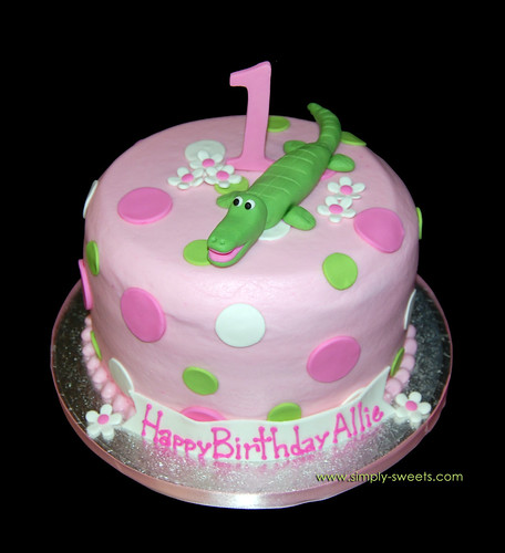 Alligator 1st Birthday Pink and Green Cake