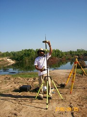 Me setting up the RTK GPS - TopCon (ahmed_tarig) Tags: texas near houston sinkhole | daisetta