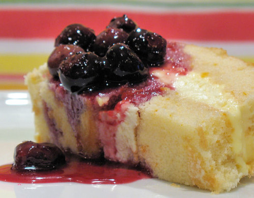 Orange cake with lemon cream and blueberry sauce 3704