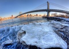 New York Icebergs I (ADFitz) Tags: newyork eastriver iceberg manhattanbridge manhattan dumbo ice fisheye