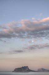 DSC_3987_8_9_tonemapped (J.millans) Tags: sunset sea españa naturaleza moon mountains nature clouds atardecer mar spain nikon mediterraneo luna alicante amanecer nubes hdr montañas moraira ifach peñon d90