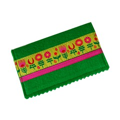 Business card case with funky flowers on lime (Jennifer Ladd handmade) Tags: pink flower green wool colorful handmade wallet sewing magenta craft felt case bamboo ribbon accessories idholder businesscardcase creditcardholder creditcardcase jenniferladd