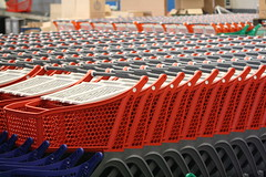 Many Red Trolleys.