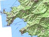 Carte de la côte de Scandola avec la baie de Girolata