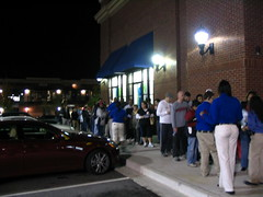 Lined up to shop at Best Buy
