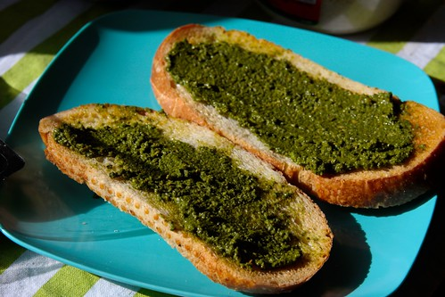 pesto, sourdough