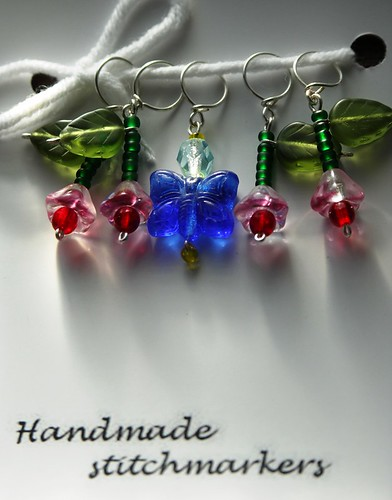 pinkbell blue butterfly stitchmarkers