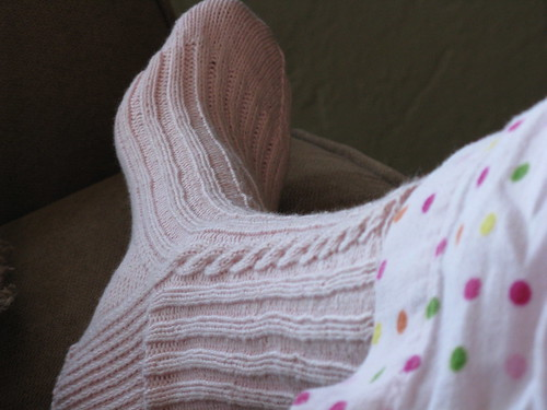 Finished pink cabled sock