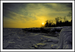 Icy Sunset (kyledg07) Tags: winter sunset sky ice nature minnesota outdoor duluth lakesuperior frozenwater hdr naturesfinest 40d top20wintertime kyledg07 ourmasterpieces