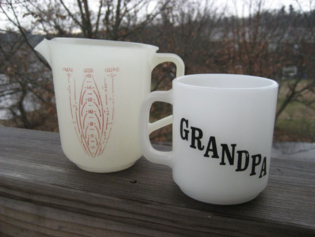 Glasbake Grandpa Mug & Tupperware Measuring Cup