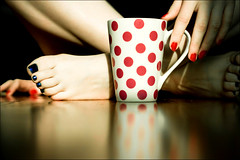 52/9 - Cuppa (*lemonade*) Tags: pink blue red selfportrait feet me cup coffee hands toes tea fingers polkadots nails nailpolish firstquality 52weeks thankgodmondaysover
