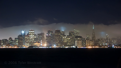 Foggy San Francisco Skyline, Timelapse (Tyler Westcott) Tags: sanfrancisco california longexposure water fog skyline night timelapse video treasureisland wind nikond40