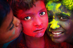 Colorful Kiss ( Poras Chaudhary) Tags: red portrait india colors face yellow festival geotagged nikon 28 holi d3 kurukshetra 2470mm geo:lat=2996938825167092 geo:lon=7682948470115662