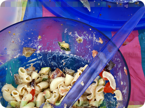 impromptu pasta salad for the *beach*