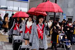 Three Tokyo girls with umbrellas. (uaru.amphiacantoides) Tags: girl color ikebukuro cute street czerwony umbrella girls japaneseday 2017 japan tokyo red