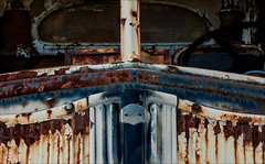 Weighty Conveyance (Junkstock) Tags: aged abandoned artifact abstract altebenutztegegenstände corrosion corroded campo california craquelure decay decayed distressed grill blue old oldstuff oldusedobjects obsolete oldandbeautiful paint patina peelingpaint relic rust rusty rusted rustyandcrusty steel textures texture transportation transport truck trucks vintage weathered white