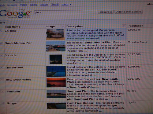 Google Squared Screenshot