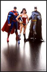 Superman, Wonder Woman, & Batman (Howie Muzika) Tags: actionfigure dccomics clarkkent justiceleague brucewayne kalel dianaprince strobist jackmatthews borderfx thenew52 trinitywar