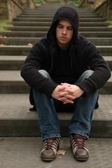 Portret steps (E!ke) Tags: autumn boy black fall hoodie model sitting thinking hood symmetric portret