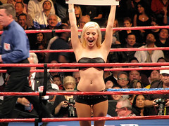 Ring Card Girl (mark6mauno) Tags: girl losangeles los angeles center ring card bikini boxing staples staplescenter canonpowershots3is