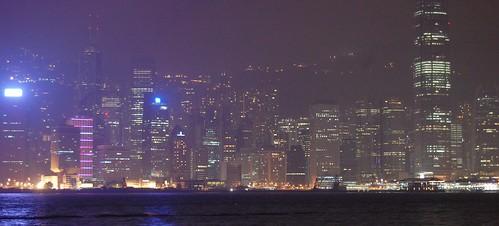 Vista de Hong Kong de noche