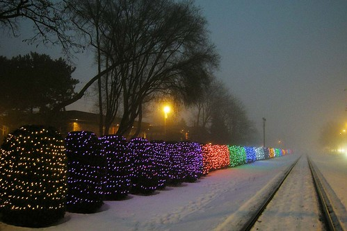 Rainbow of Holiday Lights Along Railroad Right of Way
