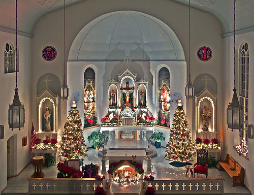 Saint Joseph Roman Catholic Church, in Apple Creek, Missouri, USA - view of nave with Christmas decorations 2
