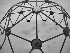 Geodesic (b.Loff) Tags: park winter blackandwhite snow playground triangles geometry circles angles symmetry dome grandrapids geodesic junglegym geodesicdome pentagons geometriegeometry pentakisdodecahedron briggsparks
