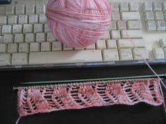 lace ribbon scarf in progress (noirbettie) Tags: knitting handknit knitty ravelry unioncenterknits laceribbonscarf whatnotsock