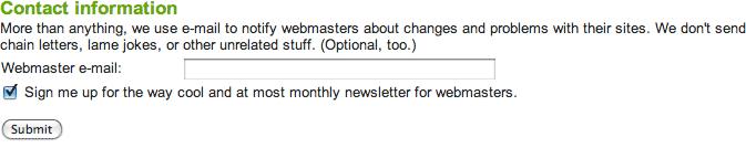 Live Webmaster Tools Message