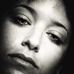 Tristesse de la Lune (Christine Lebrasseur) Tags: portrait people blackandwhite woman france eye art 6x6 face canon sadness andrea fr glance anythinggoes onblack gironde 500x500 ltytrx5 saintloubes allrightsreservedchristinelebrasseur herowinner skancheli