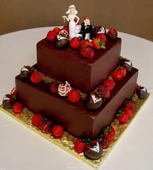 Kelli & George Groom's Cake (mandotts) Tags: cake chocolate strawberries chocolatedipped groomscake weddingtopper tuxdippedstrawberries