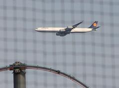 Lufthansa A340 (Vidiot) Tags: park nyc game nycpb brooklyn plane airplane coneyisland island baseball aircraft airbus cyclones coney keyspan lufthansa keyspanpark a340 340 brooklyncyclones