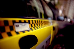 taxi ride (0bli0) Tags: street leica film yellow 35mm fuji dof bokeh cab taxi m6 f12 checks wideopen fortiasp voigtlandernokton35mmf12aspherical