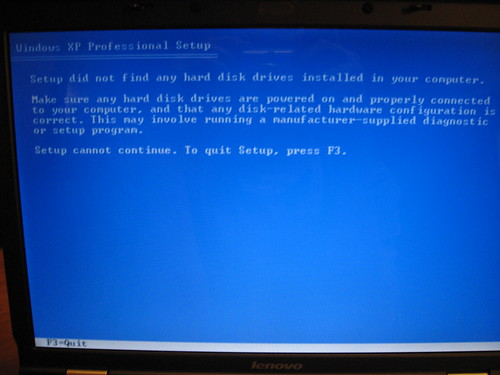 xp setup can't read the hard drive, had to change a bios setting to make it work