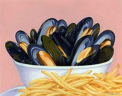 mussels (Robin MacLean Illustration) Tags: stilllife food fruit illustration watercolor painting menu french oakland design flavor designer drawing label gourmet fries mussels gouache package moules packagedesign packagingdesign labeldesign foodillustration packagingillustration packageillustration labelillustration