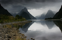 Rain Approaching Milford Sound, New Zealand (Kenny Muir) Tags: new sea cloud mountains rain island south zealand sound milford majestic fiordland rainforset avision