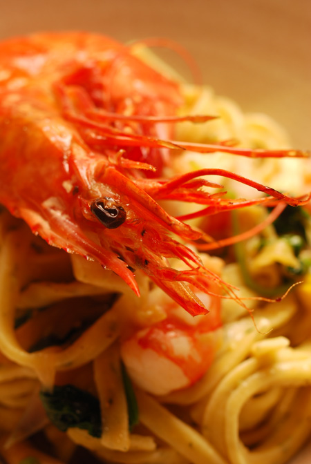 parsley linguine with prawns