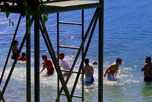 Swimming in Lake Atitlan
