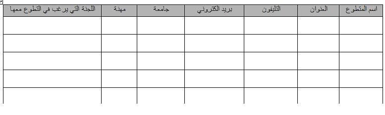 نموذج استمارة التطوع