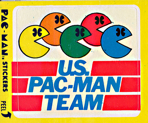 "Fleer ""PAC-MAN"" Sticker NO.4 of 54 'U.S. Pac-Man Team' (( 1980 ))"