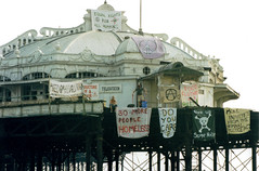 West Pier - Brighton (Mark Wordy) Tags: brighton hove homeless westpier banners derelict protests protestors squatters criminaljusticeact brightonhoverocktherealphotographicdeal
