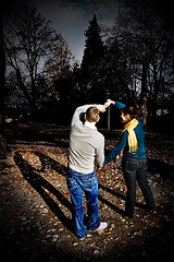 You know we're two hearts believing in just one mind (Evelyn Arthur Richman) Tags: autumn trees shadow portrait tree fall love leaves night portraits hearts fun lights couple shadows heart pair